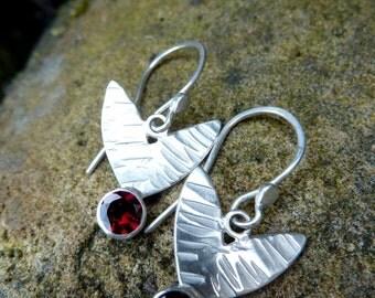 Silver Leaves with Red Garnet Dangle Earrings.