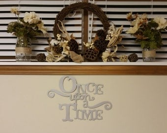 Silver Once Upon A Time Die Cut Sign 17 x 11 1/2