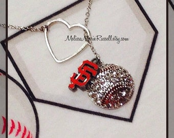 Baseball, choose your team, Baseball Lariat Necklace with Rhinestones & Heart, handmade jewelry