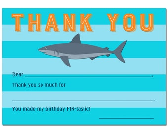 Shark Thank You Notes Printable - Boy's Pool Party, Swim Party - Instant Download - Shark Stripe Collection