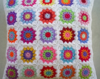 25 colors in white crochet granny square cushion cover / pillow cover