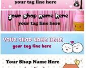 Cute Kawaii Bear Bunny Ice Cream Stripes Heart Large Etsy Banner Avatar Set - You Pick One