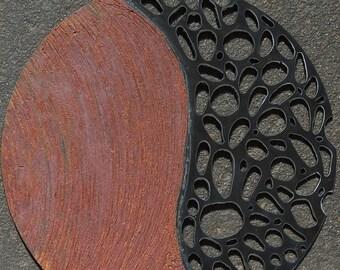 Round Metal Wall Sculpture, Indoor Outdoor Sculpture, Abstract Metal Wall Hanging, Round Recycled Metal Wallhanging, Zen Wall Art,