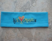 I Love Music Embroidered Headband, Party Favor Headband, Headband for kids, teens and women