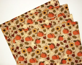 Fall Placemats, Quilted Placemats, Autumn Decor, Fall Table Setting, Kitchen Decor, Pumpkins, Table Mats, Country Decor, Set of 4