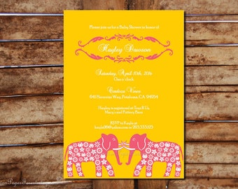 GRAND ELEPHANTS Indian Invitation Pdf Template Wedding Anniversary Engagement Party Bridal Baby Shower Bachelorette Spa Prints Thai Asian