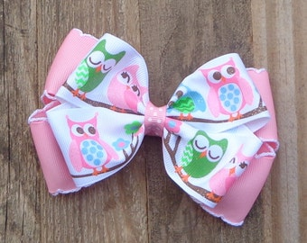 Owl Hair Bow~Large Owl Hair Bow~Owl Boutique Bow~Pink Boutique Hair Bow~Basic Hair Bow~Simple Hair Bow~Large Hair Bow~Birthday Hair Bow