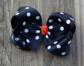 Black Polka Dot Hair Bow~Halloween Boutique Bow~Simple Hair Bow~Basic Hair Bow~Large Black Hair Bow~Large Boutique Bow~Fall Boutique Bow