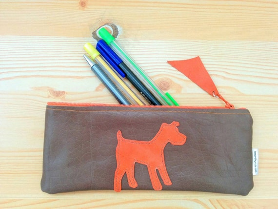 Leather pencil case,leather pencilcase,leather pouch,dog pencil case,brown pencil case,leather case,leather coin purse,dog leather,dog pouch