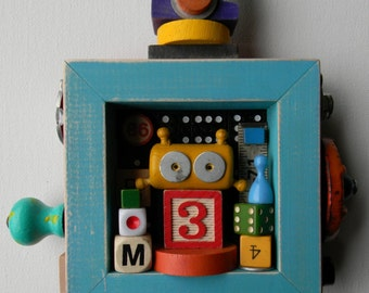 Kids Room Decor - Bot Number 3 - Recycled Assemblage - Found Object Art - Mixed Media Assemblage  by Jen Hardwick