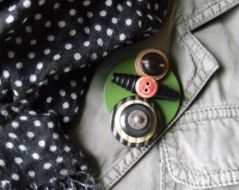 Art Brooch - Red Button - Found Object Jewelry by Jen Hardwick
