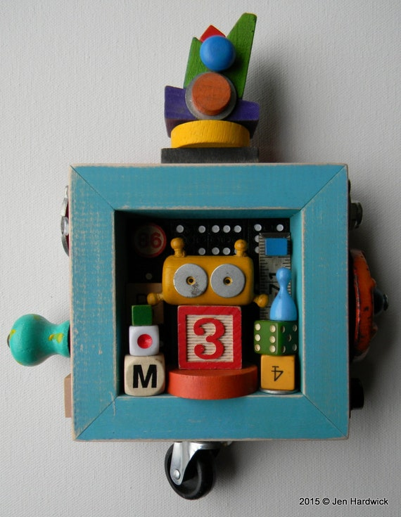 Kids room decor bot number 3 recycled assemblage found for Number 3 decorations