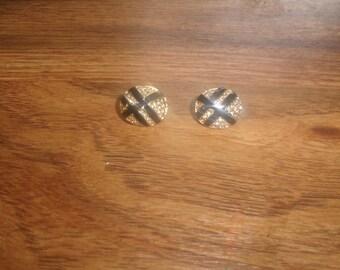 vintage clip on earrings goldtone black enamel rhinestones