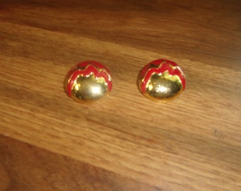 vintage clip on earrings goldtone red enamel