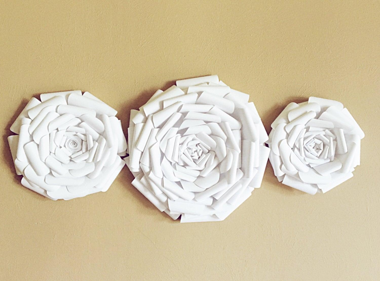 Paper Flowers Trio Wall Decor - Wedding Decor - Home Decor - Nursery ...