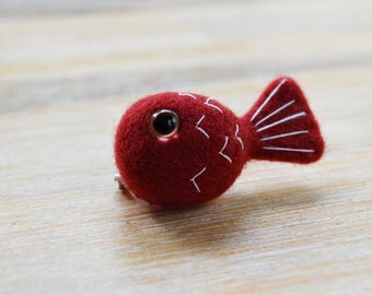 Needle Felted Red Fish Badge - Handmade from Maroon Merino Wool, Mini Goldfish Badge