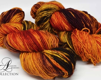 Hand Dyed Superwash Merino Wool Yarn - Single Ply Worsted weight - Pumpkin Everything