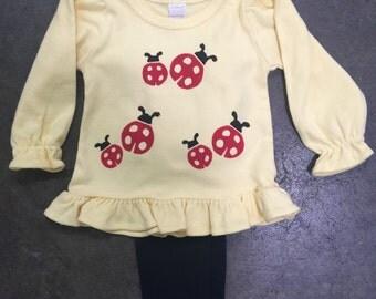 Girls Yellow Ladybug ruffle top with leggings