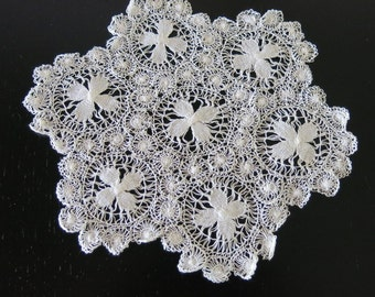 Nanduti Doily White Needle Weaving 9 1/2 Inches Diameter 174b