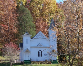 "From the ""Appalachian Scenic"" series.   Primitive church in fall foliage"