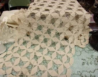 Ecru Crochet Table Runner Dresser Scarf