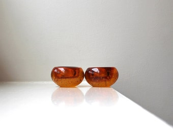 Scandinavian Modern Amber Glass Candle Holders Pair Solid Controlled Bubble Hand Blown Votive Tea Lights