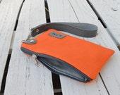 Unisex Canvas Personalized Wallet, Monogrammed Zipper Wristlet, Orange Canvas Pouch, Engraved label, Coin Wallet, unique gift for men
