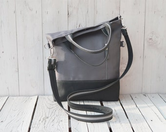 Gray canvas tote bag modern crossbody canvas totes messenger hand strap adjustable strap grey canvas casual everyday Tote