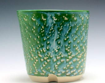 HALF OFF Sale - Large Handmade Sea Green, blue, and white Ceramic Utensil Holder with Carved Texture/Ceramics and Pottery
