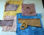 RESERVED Natural Dyed Fabric Scraps/Bundle Linen and Cotton Eco-Dyed Artists Quilters Mixed Media