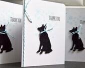 Dog Thank You Notes Set of 4, German Shepherd Dog Thank You Cards, Winter Thank You Notes, Dog Lover Gift