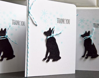Dog Thank You Notes Set of 4, German Shepherd Dog Thank You Cards, Winter Thank You Notes, Dog Lover Gift