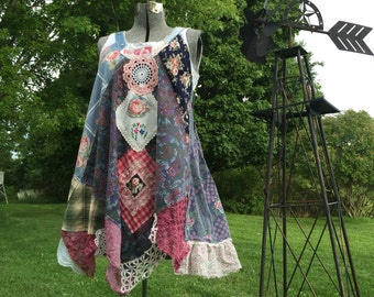Upcycled Wearable Art  Shabby chic Patchwork Jumper,  Antique Vintage Crochet Lace Dollies with Appliqué Roses