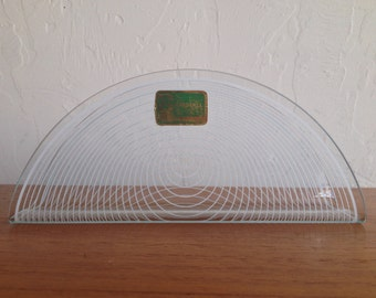 Lausitzer Glas Kristall Bent Glass Letter or Napkin Holder Lined Op Art