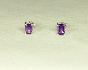 Amethyst Earrings, Emerald Cut, Amethyst Studs, Sterling Silver, February Birthstone, Amethyst Posts, Purple Amethyst, Natural Amethyst