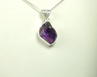 Raw Amethyst Pendant, Deep Purple Crystal, Sterling Silver, February Birthstone, Natural Amethyst, Chunky Amethyst, Purple Amethyst