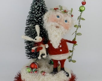 """Santa Claus & Bunny Rabbit for Christmas 11-1/2"""" Tall Wool needle felted Winter Creation - Kris Kringle and Baxter #1"""