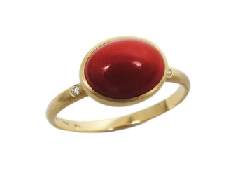 Carnelian gold ring. 14k yellow gold Carnelian ring. gift for her, Carnelian jewelry, romantic gift, birthday gift, gold ring (r220-297)