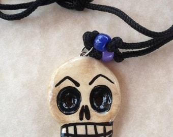 Skull Dia De Los Muertos paracord adjustable necklace men or women boy or girls