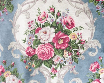 Country Cottage Pink English Cabbage Rose Floral Pattern 1940s Vintage Drapery Panels