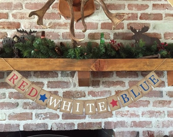 4th of July Decoration, RED WHITE & BLUE, Patriotic banner, Americana