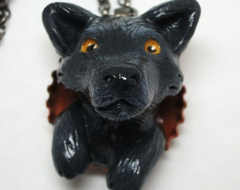 Wolf Necklace-Black