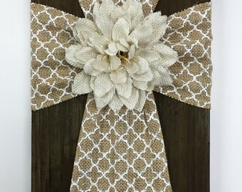 Burlap Cross on Reclaimed Stained Wood