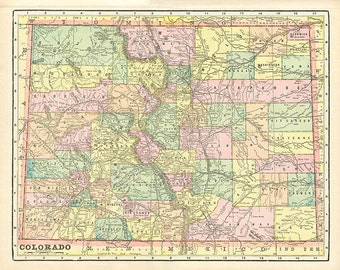 COLORADO and MINNESOTA U.S.A. STATE Maps from 'The Home Knowledge Atlas' Original Double-Sided Book Page