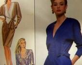 1988 Shaped Bodice Kimono Sleeve Dress Pattern Simplicity 8736 Miss 8-10-12 Bust to 34. RETRO 80's V-NECK DRESS Pattern at WhiletheCatNaps