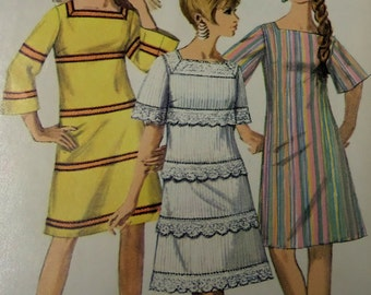"""1967 A-Line Bell Sleeve Go-Go Dress Pattern Simplicity 7142 Miss 16 Bust 36"""". 60's Mod Square Neck GO-GO DRESS Pattern at WhiletheCatNaps"""