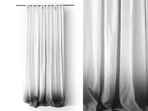 Ombre Linen Drapes Grey Fade To White Pinch Pleat Window Curtain Blackout Lining Option By