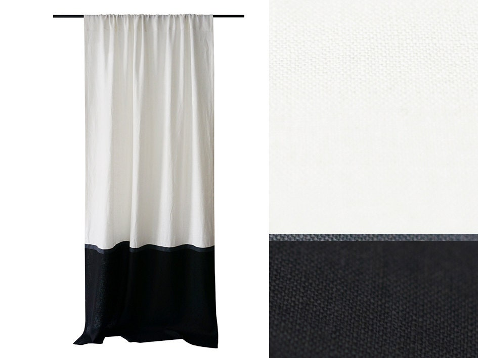 Linen Curtains Color Block Curtains Black And White Curtains