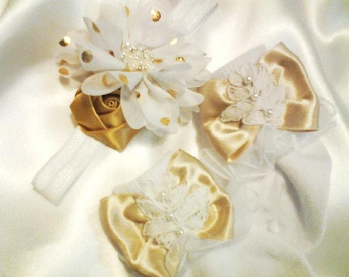 Newborn Girls Gold Layette Headband and Lace Ruffled Socks