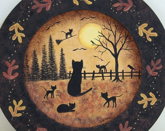 Halloween Folk Art Wood Plate, Midnight Broom Ride,  HandPainted Primitive Plate, Black Cats, Full Moon, Fall Leaves Border, MADE TO ORDER